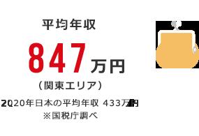 平均年収:847万円(関東エリア) 2018年日本の平均年収 432万円 ※国税庁調べ