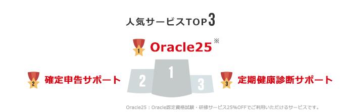 人気サービスTOP3:1位 Oracle25、2位 確定申告サポート、3位 定期健康診断サポート